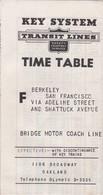 UNITED STATES - SAN FRANCISCO - KEY SYSTEM - TRANSIT LINES - TIME TABLE - Monde