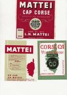 LOT DE 3 ETIQUETTES VIN DE CORSE -CAVES MATTEI - BASTIA -CORSE - Rouges