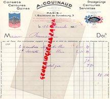 75- PARIS- FACTURE A. COUINAUD-LINGERIE CORSETS-GAINES- PERFECTA- MYOSOTIS-1 BOULEVARD STRASBOURG- 1935 - Textile & Vestimentaire