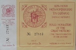 Entrance Ticket To Holly Monastery Of The Great Meteoro - Greece - Tickets - Vouchers