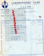 75- PARIS -  FACTURE LABORATOIRE  CAZE- 68 BIS AVENUE CHATILLON-SIROP DES VOSGES-88- PHARMACIEN PHARMACIE LILLE - Petits Métiers