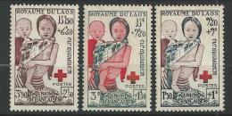 """Laos YT 25 à 27 """" Croix-Rouge """" 1953 Neuf** - Laos"""