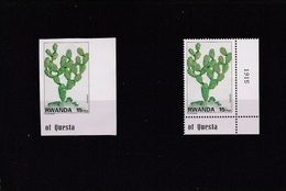 A] 2 Timbres ** 2 Stamps ** Rwanda Dentelé + NON Dentelé Perforated + IMPERF Cactus - Sukkulenten