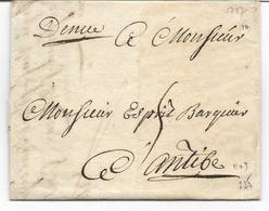 NICE  Lettre De 1727 à Déchiffrer Marque Manuelle DENICE   Pour ANTIBES  Voir 2 Scans - 1701-1800: Precursors XVIII
