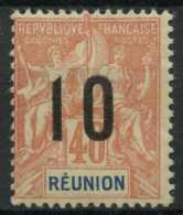 Reunion (1912) N 77A (charniere) (chiffre Espaces) - Réunion (1852-1975)