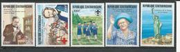 CENTRAFRIQUE  Scott 724-728 Yvert 672-676 ** (5) Cote 14,50 $ 1985 - Centrafricaine (République)