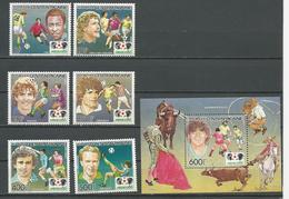 CENTRAFRIQUE  Scott 730-735, 736 Yvert 702-705, PA330-PA331, BF79 ** (6+bloc) Cote 18,50 $ 1985 - Centrafricaine (République)