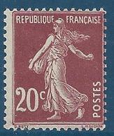 FRANCE 1907 - Y.T. N°139 - 20 C. Brun-rouge - Type Semeuse Fond Plein Sans Sol - Neuf** - TTB Etat - 1906-38 Sower - Cameo