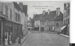 CHATILLON SUR LOIRE  PLACE DU MARCHE MAGASINS CAFE DU COMMERCE CACHET MILITAIRE ARTILLERIE   DEPT  45 - Chatillon Sur Loire