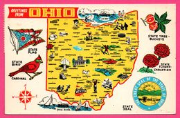 Carte Géographique - Ohio - The Buckeye State - State Bird - ALADDIN DISTRIBUTORS - Oblit. Sur Timbre BASKET - Non Classés