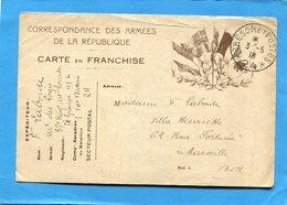 GUERRE 14-18- Marcophilie-soldat- Carte LettreF M-illustrée 6 Drapeaux CadTrésor Et Poste N°24  -mai 1916 - Marcophilie (Lettres)