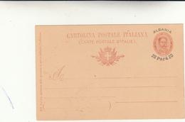 Cartolina Intero Postale, Ufficio Italiano In Albania 20 Para 1902 - Albania