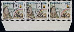 A0099 ZIMBABWE 2000, SG 1020 $50 Victoria Falls,  Cancelled Strip Of 3 - Zimbabwe (1980-...)
