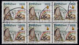 A0115 ZIMBABWE 2000, SG 1020 $50 Victoria Falls,  Cancelled Block Of 6 - Zimbabwe (1980-...)