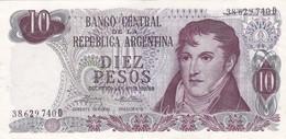 DIEZ PESOS ARGENTINA GRAL BELGRANO CIRCA 1970s-BILLETE BANKNOTE BILLET NOTA-BLEUP - Argentina