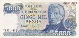 CINCO MIL PESOS GRAL SAN MARTIN ARGENTINA CIRCA 1977s-BILLETE BANKNOTE BILLET NOTA-BLEUP - Argentina