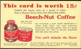 USA (1949) Can, Jar Of Coffee. Postal Card (used) With Bicolor Illustrated Ad And Coupon For Beech-Nut Coffee. - Food