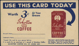 USA (1952) Bag Of Coffee. One Cent Postal Card With Advertising. This Postal Card Was Redeemed At The Post Office - Food