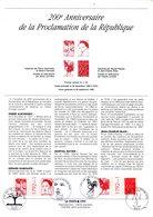 """"""" OEUVRES D'ARTISTES CONTEMPORAINS """" Sur Document A4 1er Jour De 1992. N° YT 2778 Parf état - Franz. Revolution"""