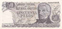 CINCUENTA PESOS GRAL SAN MARTIN ARGENTINA CIRCA 1977s-BILLETE BANKNOTE BILLET NOTA-BLEUP - Argentinië