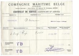 Antwerpen Compagnie Maritime Belge Certificat De Service Marin 1932 Paquebot Thysville - Vieux Papiers
