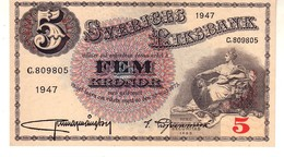 Sweden P.33 5 Kronor 1947  Unc - Svezia