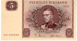 Sweden P.42 5 Kronor 1959  Unc - Suède
