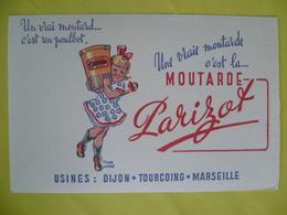 Buvard  Moutarde PARIZOT Usines  Dijon, Tourcoing, Marseille - Buvards, Protège-cahiers Illustrés
