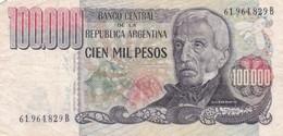 CIEN MIL PESOS SAN MARTIN ARGENTINA CIRCA 1983s-BILLETE BANKNOTE BILLET NOTA-BLEUP - Argentinië
