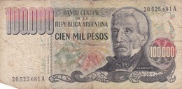 CIEN MIL PESOS SAN MARTIN ARGENTINA CIRCA 1983s-BILLETE BANKNOTE BILLET NOTA-BLEUP - Argentine