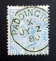 GB QV 1880 SG142/Sc.#68 2 1/2d Blue Plate 19 KD-DK, PADDINGTON CDS London Inland Postmark, Used. - 1840-1901 (Victoria)