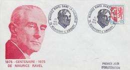 Enveloppe   Centenaire   Naissance  De   Maurice  RAVEL    MONTFORT -  L' AMAURY   1975 - Music