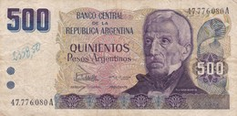 QUINIENTOS PESOS SAN MARTIN ARGENTINA CIRCA 1984s-BILLETE BANKNOTE BILLET NOTA-BLEUP - Argentina
