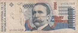 DIEZ MIL AUSTRALES CARLOS PELLEGRINI ARGENTINA CIRCA 1989s-BILLETE BANKNOTE BILLET NOTA-BLEUP - Argentina