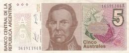 CINCO AUSTRALES JUSTO JOSE DE URQUIZA ARGENTINA CIRCA 1989s-BILLETE BANKNOTE BILLET NOTA-BLEUP - Argentinië