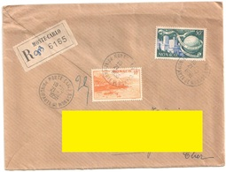 MONTE CARLO Lettre Recommandée Ob 21 7 1956 10 F Rade Jaune 50 FUPU Yv 311A PA47 - Covers & Documents