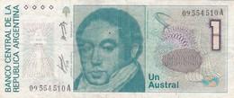 UN AUSTRAL BERNARDINO RIVADAVIA ARGENTINA CIRCA 1989s-BILLETE BANKNOTE BILLET NOTA-BLEUP - Argentinië