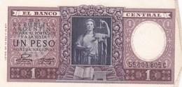 UN PESO MONEDA NACIONAL ARGENTINA CIRCA 1956s-BILLETE BANKNOTE BILLET NOTA-BLEUP - Argentinië
