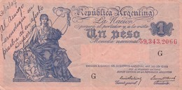 UN PESO MONEDA NACIONAL CON LEYENDA ARGENTINA CIRCA 1930s-BILLETE BANKNOTE BILLET NOTA-BLEUP - Argentinië