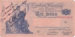 UN PESO MONEDA NACIONAL CON LEYENDA ARGENTINA CIRCA 1930s-BILLETE BANKNOTE BILLET NOTA-BLEUP - Argentina