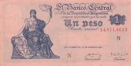 UN PESO MONEDA NACIONAL CON LEYENDA PERONISTA AL DORSO DE 1952. ARGENTINA CIRCA 1930s-BILLETE BANKNOTE BILLET NOTA-BLEUP - Argentina
