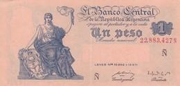 UN PESO MONEDA NACIONAL ARGENTINA CIRCA 1930s-BILLETE BANKNOTE BILLET NOTA-BLEUP - Argentinië