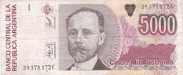 CINCO MIL AUSTRALES MIGUEL JUAREZ CELMAN ARGENTINA CIRCA 1990s-BILLETE BANKNOTE BILLET NOTA-BLEUP - Argentinië