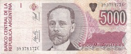 CINCO MIL AUSTRALES MIGUEL JUAREZ CELMAN ARGENTINA CIRCA 1990s-BILLETE BANKNOTE BILLET NOTA-BLEUP - Argentina