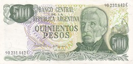 QUINIENTOS PESOS GRAL SAN MARTIN ARGENTINA CIRCA 1977s-BILLETE BANKNOTE BILLET NOTA-BLEUP - Argentinië
