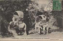 ASIE ASIA INDOCHINE CAMBODGE COLONIES FRANCAISES LEVE DU CAMPEMENT ET CHARGEMENT DES ELEPHANTS édit G BARBAT - Cambodia