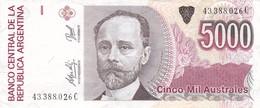 CINCO MIL AUSTRALES MIGUEL JUAREZ CELMAN ARGENTINA CIRCA 1987s-BILLETE BANKNOTE BILLET NOTA-BLEUP - Argentinië