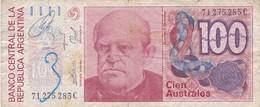 CIEN AUSTRALES DOMINGO SARMIENTO ARGENTINA CIRCA 1987s-BILLETE BANKNOTE BILLET NOTA-BLEUP - Argentina
