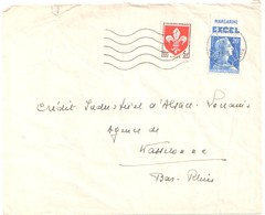 PARIS Lettre Ob 5 2 1959 5 F Blason 20 F Muller Bleu De Carnet Pub Margarine EXCEL Yv 1186 1011B - France