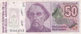 CINCUENTA AUSTRALES BARTOLOME MITRE ARGENTINA CIRCA 1987s-BILLETE BANKNOTE BILLET NOTA-BLEUP - Argentina